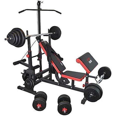 TrainHard - Banco de pesas Fuerza Station Fitness Center Latzug Negro/Rojo Con Largo de, Curl de y barras cortas y discos de 90 kg: Amazon.es: Deportes y ...