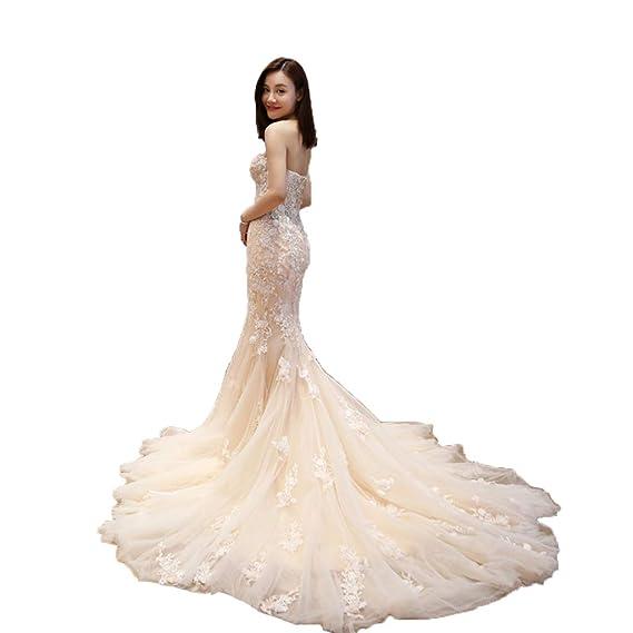Yaonai Womens Strapless Bridal Wedding Dresses Lace