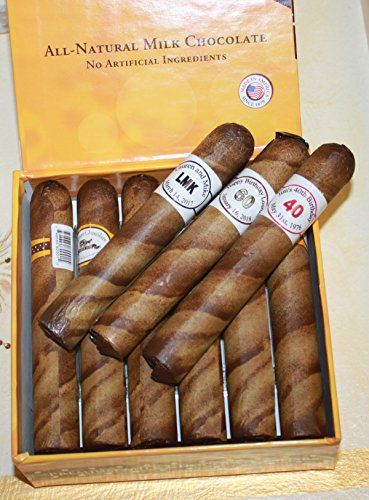 Custom Round Brown Chocolate Cigars in a Fancy Cigar Box of 12 with Personalized Cigar Bands (Wrapped Chocolate Custom)