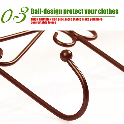 Xingyou Over Door Clothes Hanger with 5 Hooks Decorative Metal Hanger for Coats, Hats, Towels XY-H-002 (Max Bearing Weight: 10kg/22 lbs) Coffee (2) by Xingyou (Image #1)
