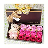 lalahu 12 Roses Set Scented Bath Soap Rose Soap Flower Petal With Gift Box For Wedding Valentine's Day Love Gift dsafg-844