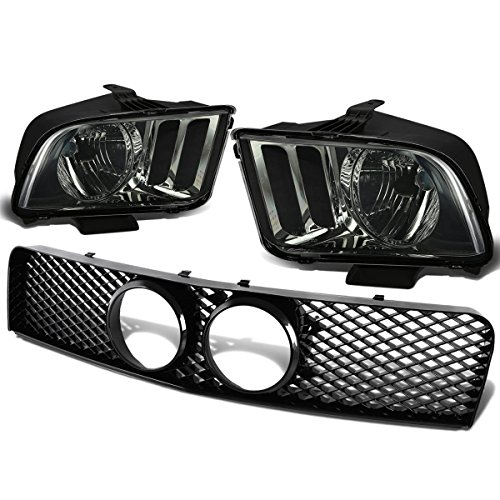 Ford Mustang GT 4.6L V8 Pair of Smoke Lens Clear Corner Headlight+Front Grille