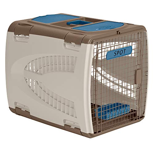 Suncast Portable Dog Crate with Handle for Small and Medium Dogs - Bowl Included - Stylish and Durable Portable Pet Carrier - Dogs up to 30 lbs. - Taupe and Blue