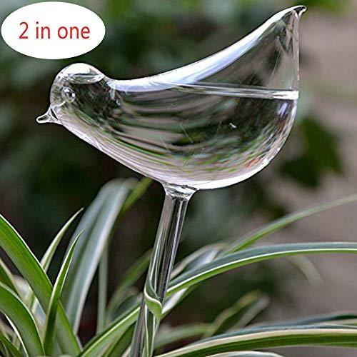 Calunce 2pcs Small Hand Blown Clear Glass Self Watering Aqua Globes (Large Bird)