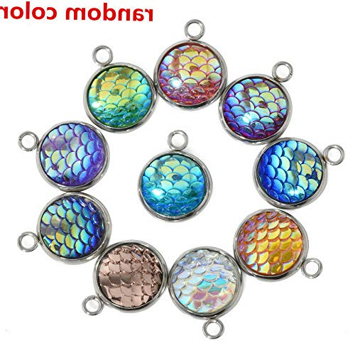 Hebel 10PCS Lot Resin Mermaid Fish Scale Charms Pendant Jewelry Necklace DIY 12mm Gift | Model NCKLCS - 34631 | ()