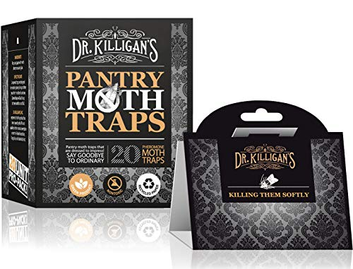 Dr. Killigan's Premium Pantry Moth Traps With Pheromone Attractant | Safe, Non-Toxic with No Insecticides | Pro Pack (20, Black ()