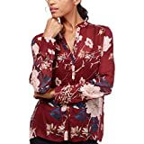 Lucky Brand Women's Printed Top Red Multi Large