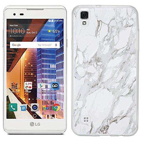 LG Tribute HD case - [White Marble] (Crystal Clear) PaletteShield Soft Flexible TPU gel skin phone cover (fit LG Tribute HD)