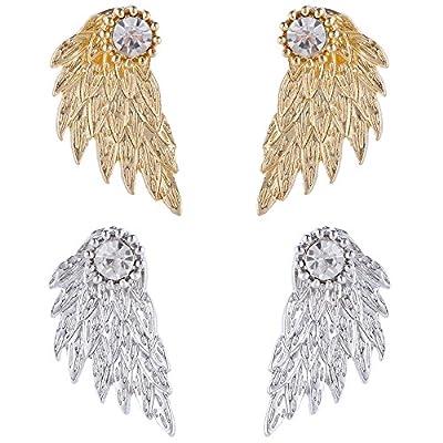 Angel Wings Ear Crawler Earrings Climber Rhinestone Studs Cuffs Ear Wrap Pin Vine Crystal Charm Jewelry