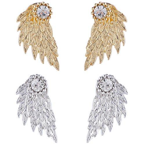 Angel Earrings Gold (Angel Wings Ear Crawler Earrings Climber Rhinestone Studs Cuffs Ear Wrap Pin Vine Crystal Charm Jewelry Golden Plated + Silver Plated)
