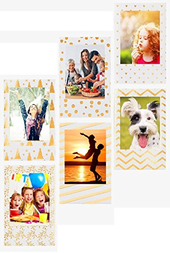 Photo Frame for Fujifilm instax mini Film, Polaroid Zink film & HP sprocket photo paper, Refrigerator Magnets Frame for Lifeprint Film, Zink Photo Paper and any 2x3 Photo Paper -HVS (Gold Frame Magnet)