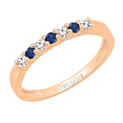 64dfc7d5037 18K Rose Gold Round Blue Sapphire   White Diamond Ladies Wedding  Anniversary Band (Size 4