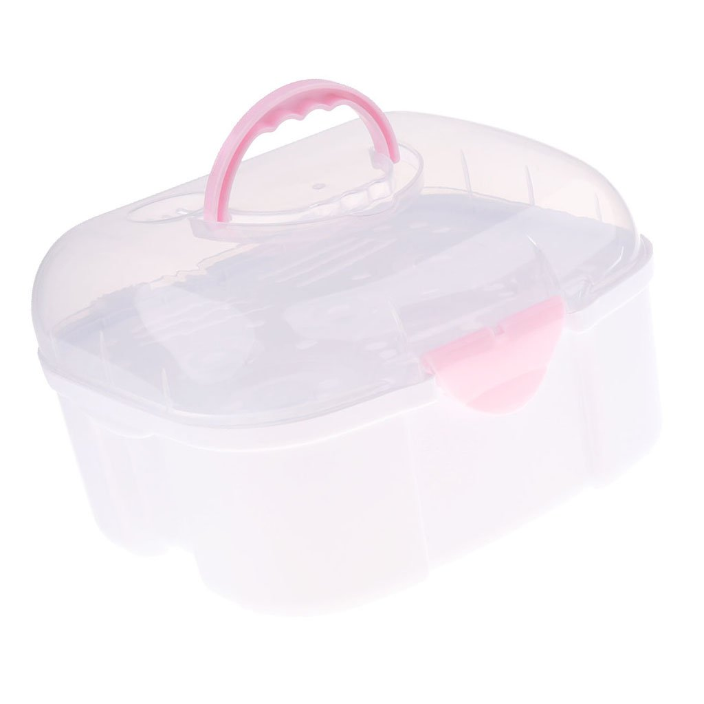 Baoblaze Large Baby Kids Feeding-bottle Storage Box Organizer with Anti-dust Cover - Pink, as described