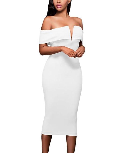 f1f0167678 GUOCU Vestidos sin Hombros Vestidos Midi para Mujer High Low Bodycon Vestido  de Noche de Sirena