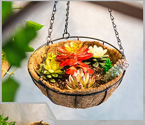 JINSH Home Pastorale Creativa del Cocco Appeso a Mano in Rattan Cesto Cesto di Fiori Vaso Soggiorno Balcone Appeso Ornamenti appesi Cesto di Fiori Cestino Bacino (Dimensione   Chlorophytum comosum)