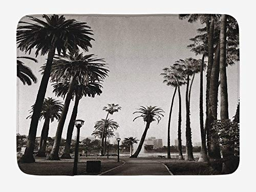 Weeosazg Palm Tree Bath Mat, Los Angles Downtown Park View Tropical Nature California American Landmark, Plush Bathroom Decor Mat with Non Slip Backing, 23.6 W X 15.7 W Inches, Dark Brown White