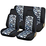 AUTOYOUTH Blue Camo Full Set Truck seat Covers Universal Fit for Cars Durable Canvas Fabric, Airbag Compatible, Rear Split Car Seat Protectors Car Accessories - NEW ARRIVAL, 4PCS, Navy/Black