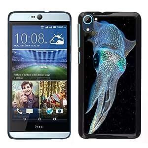 Caucho caso de Shell duro de la cubierta de accesorios de protección BY RAYDREAMMM - HTC Desire D826 - kraken iridiscente buceo azul eléctrico