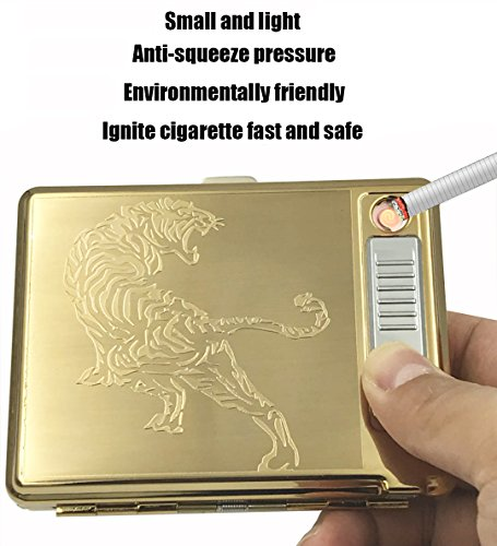 Metal Cigar Case (Moonwbak Cigarette Case Lighter, Metal Full Pack 20 Regular Cigarettes Box Holder USB Rechargeable Cigar Lighter Flameless Windproof with USB Cable Best for Birthday Gifts (Tiger))