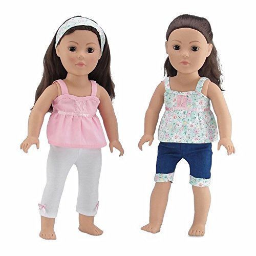18 Inch Doll Clothes | Vintage Mix and Match Outfits, Includes 2 Tank Style Shirts, Cool Jean Shorts with Matching Floral Cuff, Creamy White Leggings and Matching Headband | Fits American Girl Dolls ()