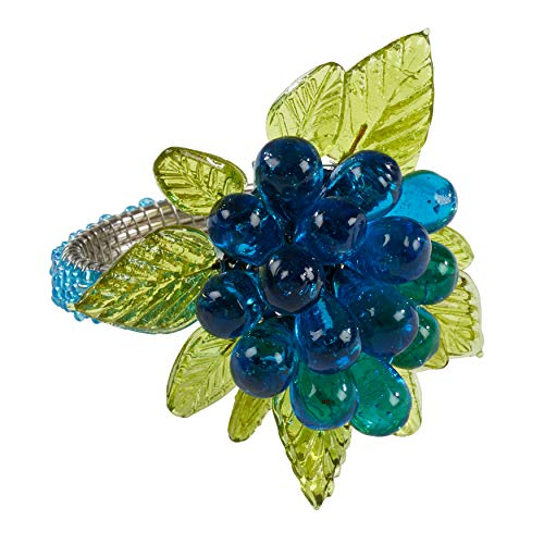 SARO LIFESTYLE NR728 Collection Beaded Napkin Rings with Flower and Leaves (Set of 4), 2.5