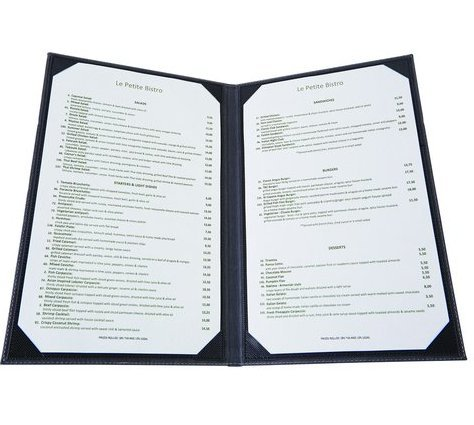 Winco LMD-814BK, Black Leather-Like Booklet Two-Views Menu Cover for 8.5x14-Inch Inserts