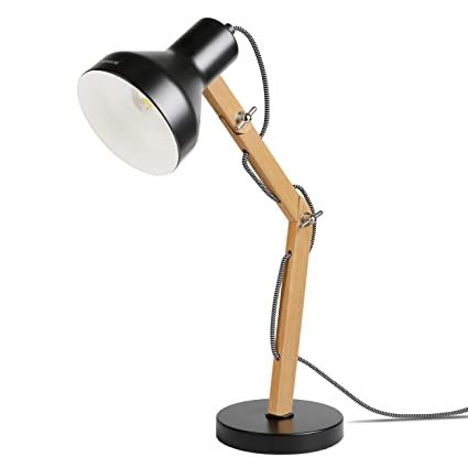 Tomons Wood Adjustable Head Desk Lamp, Designer Table Lamp, Reading Lights, Study Lamp, Work Lamp, Office Lamp, Bedside Nightstand Lamp - Black