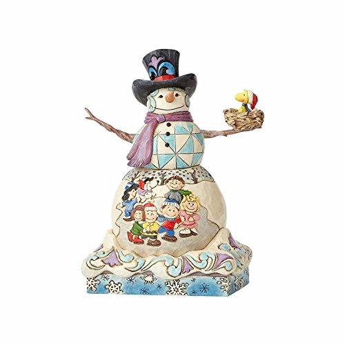 """(Enesco Jim Shore Snowman with Peanuts Scene Stone Resin, 9"""" Figurine)"""