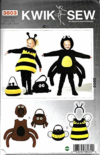 - Kwik Sew K3803 Spider and Bumble Bee Costumes and Treat Bags Sewing Pattern, Size XS(1)-S(2)-M(3)-L(4)-XL(5)