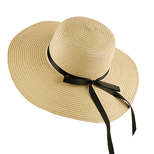 Womens Beach Hat Foldable Summer Cap Big Brim Straw Hat Travel Bowknot Floppy Sun Hat Beige by RMR Store (Image #1)