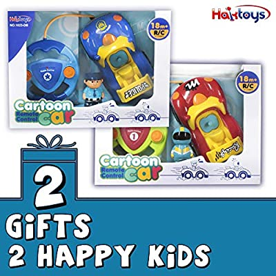 Haktoys Pack of 2 Cartoon Remote Control Race Car and Police Car | Unique Beginner Radio Control Toys for Toddlers and Kids | One Frequency Per Car Allowing Two Players to Play Together: Toys & Games
