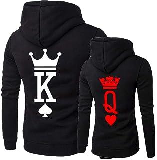 20eeae370a MissBloom King & Queen Matching Couple Hoodie His & Hers Hoodies, ...