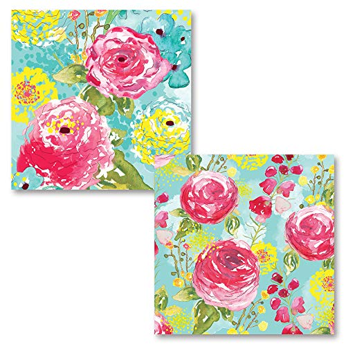 Gango Home Décor 2 Lovely Popular Colorful Watercolor Spring Fling Medley; Floral Decor; Two 12x12 Poster Prints. -