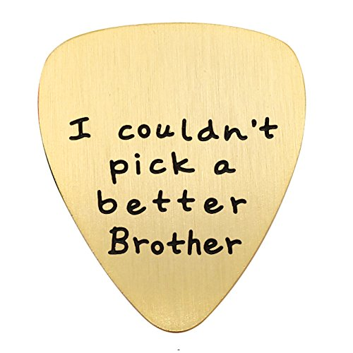 (lauhonmin Brother Gifts for Men I Couldn't Pick a Better Brother Pendant Guitar Pick Stainless Steel (Matte) (Gold) )