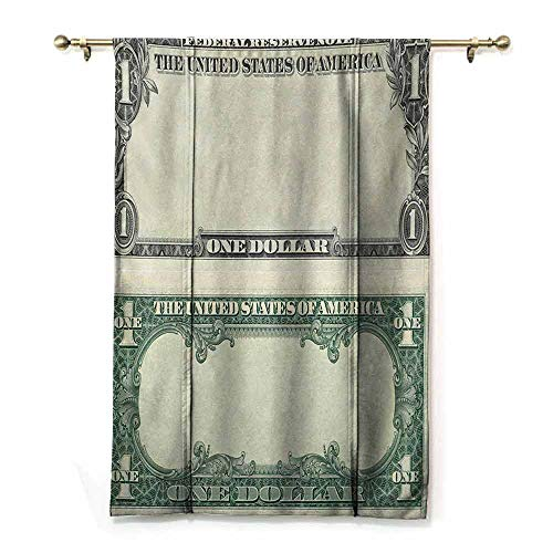 HCCJLCKS Simple Curtain Money One Dollar Bill Buck Design American Federal Reserve Note Pattern Wealth Symbol Simple Style Pale Green Grey W36 xL72 (Curtains Federal Style)