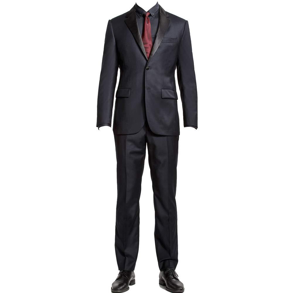 HBDesign Mens 2 Piece 2 Button Notch Lapel Slim Trim Fit Fashion Suit Black