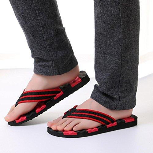 Jaminy Unisex Men's Flip-Flops Women's Slippers Beach Sandals Casual Shoes Indoor Outdoor Flat Slippers Red F50IB