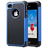 iPhone 4S Case, iPhone 4 Case, ULAK KNOX ARMOR Hybrid Dual Layer Protective Case Cover with Hard Plastic and Soft Silicone for iPhone 4S & iPhone 4 (Black+Blue)