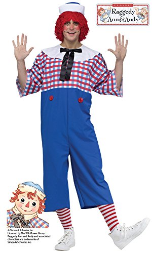 Raggedy Andy Costume - Standard - Chest Size (Raggedy Ann And Andy Adult Costumes)