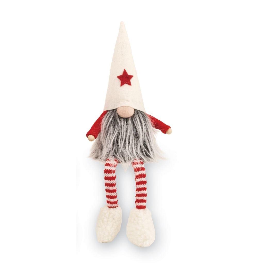 Mud Pie Christmas Home Decor Felt Dangle Leg Gnome Sitter White