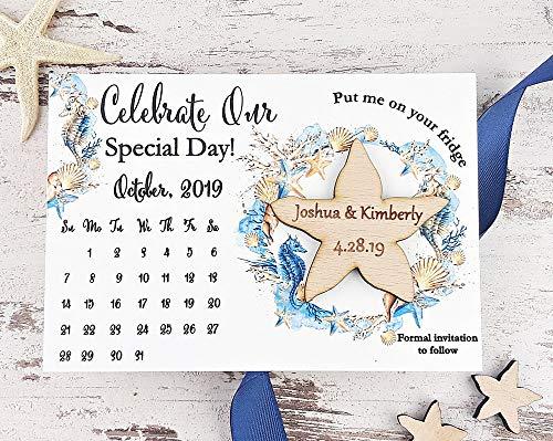 (Starfish Save The Date Magnet, Calendar Wedding Save The Date Card, Rustic Save The Date, Wooden Starfish Magnet Set of)