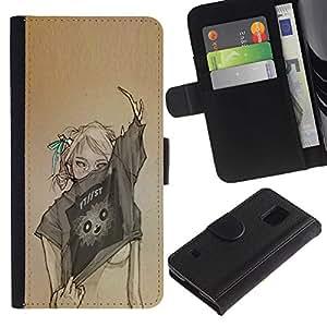 Diseño Arte Mujer Sexy Moda- la tarjeta de Crédito Slots PU Funda de cuero Monedero caso cubierta de piel Para Samsung Galaxy S5 V SM-G900