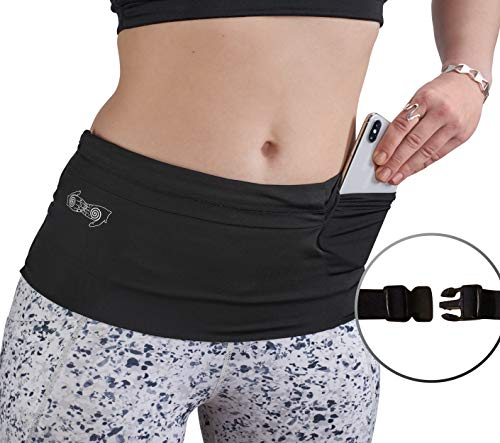 BBuddyWear Slim Fit Wide ADJUSTABLE Running Belt - Stretchy Spandex Waist and Fanny Pack Money Belt with Buckle Closure for Travel or Exercise - Fits All Smart Phones/Cases/Passport/Insulin Pumps etc