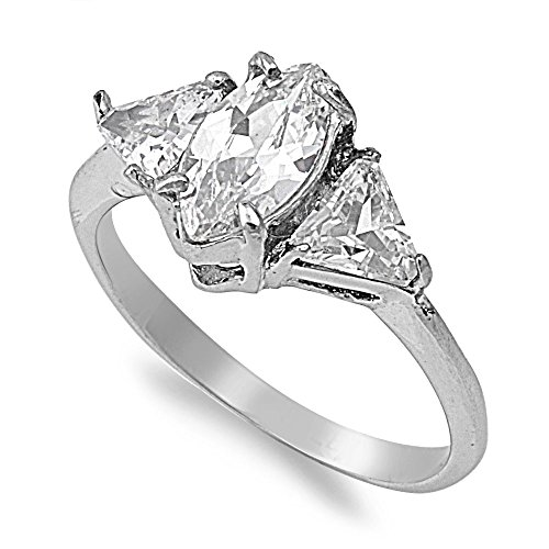 Trillion Sides Ring - Oval Clear Cubic Zirconia Center Trillion Sides Ring Stainless Steel Size 6