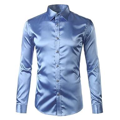 NANSHIZSCS Camisa de hombre Seda Camisa De Satén De Los Hombres ...