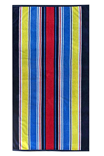 Awning Stripe Yarn (Espalma Over Size Luxury Mardi Gras Stripe Beach Towel, Large Size 64 Inch x 36 Inch Soft Velour and Reversible Absorbent Cotton Terry, Thick and Plush Jacquard Beach Towel, Awning Stripe)