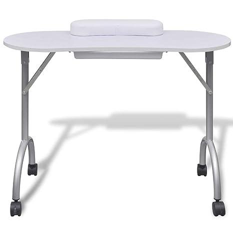 Mesa Portátil de Manicura Table Plegable para Belleza Salón Blanco ...