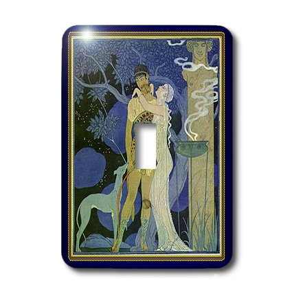 3dRose lsp_43808_1 Art Nouveau Lady Man N Dog in Gold N Navy Frames Light Switch Cover by 3dRose