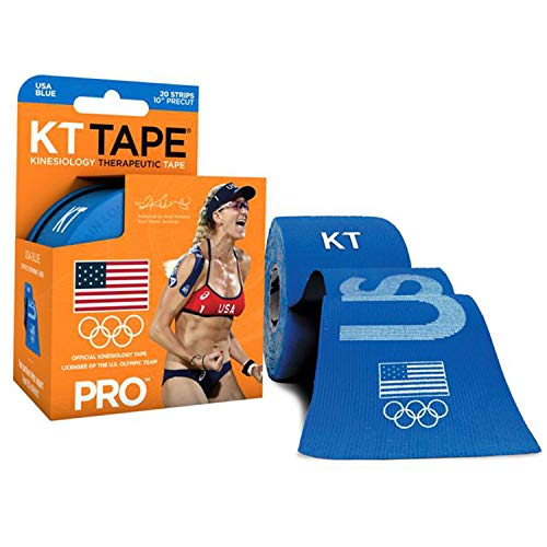 KT Tape PRO Synthetic Kinesiology Sports Tape, Water Resistant and Breathable, 20 Precut 10 Inch Strips, Team USA Olympic Edition, Blue (Packaging May Vary)