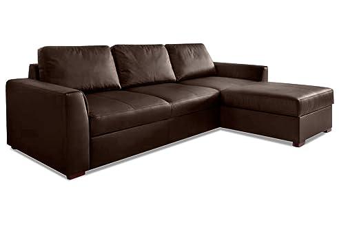 Ecksofa mit schlaffunktion braun  Sofa Couch AEK Leder Ecksofa Moreno - mit Schlaffunktion - Braun ...
